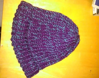 Purple and blue chunky knit hat