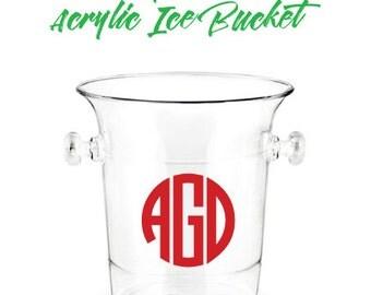 Monogrammed Acrylic Ice Bucket