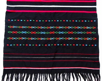"Vintage Guatemalan Mayan Textile Hand-Woven Backstrap Loom Table Runner 78"" x 24"""