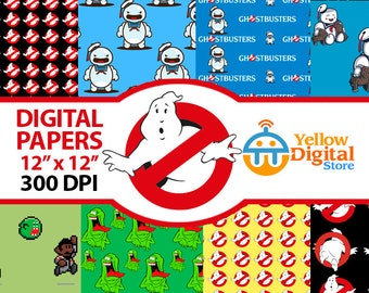 70% Off SALE GHOSTBUSTERS Digital Paper Pack, Digital Papers, 8 pdf files 12 x 12 - Instant Download