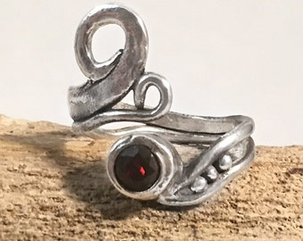 Adjustable Silver Wrapped Ring | Sterling Silver Wrap Swirl Ring | Silver Clay Jewelry | Adjustable Ring with Garnet Gemstone and Swirls