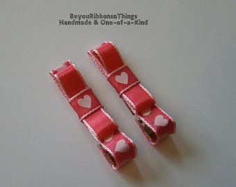 Pink Hearts | Satin Ribbon | Love | Hair Clips for Girls | Toddler Barrette | Kids Hair Accessories | No Slip Grip