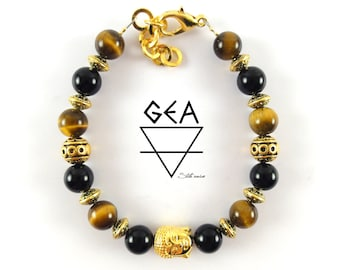 Tiger Eye and Black Onyx Bracelet-Elegant Bracelet-Style Black-Black beauty-Birthday Gift-Birthday Ideas