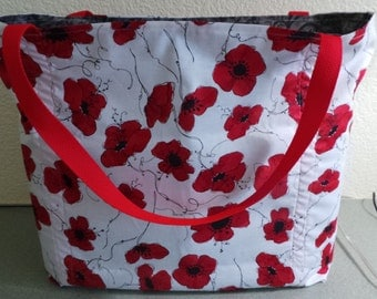 Red and Black Flowers, Reusable Farmers Market / Grocery / Shopping Bag / Tote