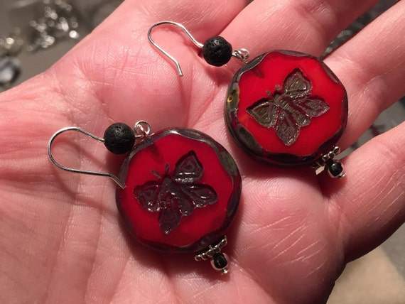 Lava Diffuser, Sterling Silver Earrings. Dark Red Picasso Czech Glass Coin / Bottle Cap Beads, Table Cut Butterflies. Lava Beads for Oils