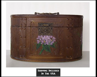 Wooden Storage Box with Hand Painted Flowers