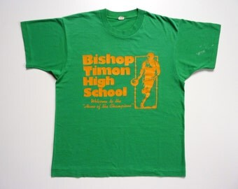 Vintage 80's Tee-Shirt Basketball Team Buffalo Bishop Timon High School