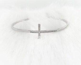 Silver Cross Bangle