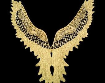 Gold Thread Embroidery Lace Collar ,Gold Lace Applique ,Embroidery Lace Collar Patch ,Wing Lace Motif Gold Color