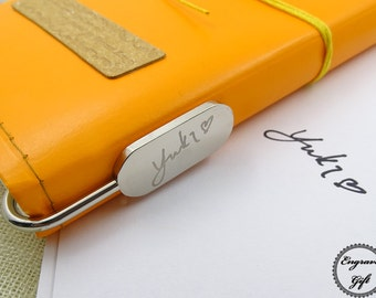 Personlized Stainless Metal Book Mark Insert Your handwriting  Signature Text Icon