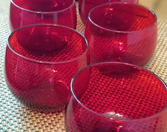 Vintage Set of 6  Ruby Glass Small Roly Poly Glasses/ Punch Cups / 1960s