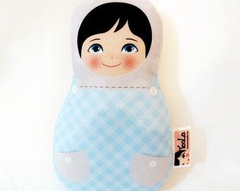 Boy Babushka matryoshka softie plush doll, Small, stuffed matryoshka