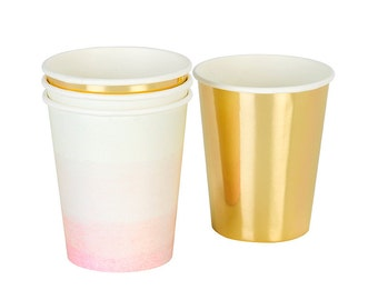 Pink ombre and gold paper cups. Set of 12. Light pink paper cups.  Gold paper party cups.  Pink ombre cup.  Pink party cups.  Gold cups.