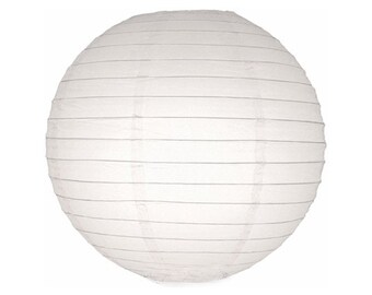 "CLEARANCE - white round paper party lanterns - 6"".  Party globes. White paper lanterns. White paper globe. White party decor.  Paper globe."
