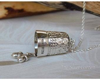 Silver Thimble Kiss Necklace, Thimble Necklace, Acorn Necklace, Sewing Necklace, Vintage Thimble, Antique Thimble, Seamstress Gift, Sewing