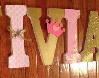 Nursery letters, Princess room decor, Pink and gold custom letters, Princess themed letters