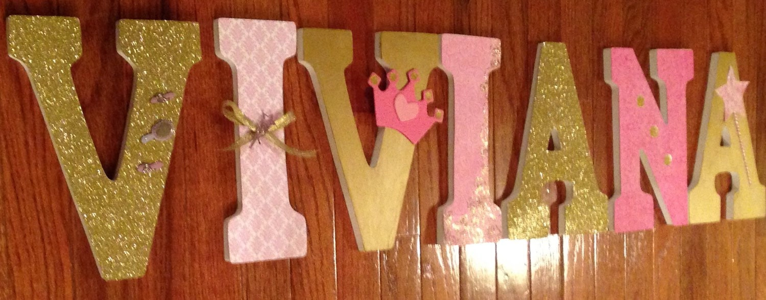 Pink And Gold Bedroom Decor Nursery Letters Princess Room Decor Pink And Gold Custom
