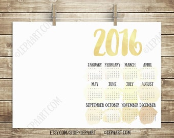 Template Calendar 2016 PRINTABLE, A3 A4 Gold Yellow ocher Printable wall calendar desk calendar watercolor Digital calendar Diy calendar Pdf