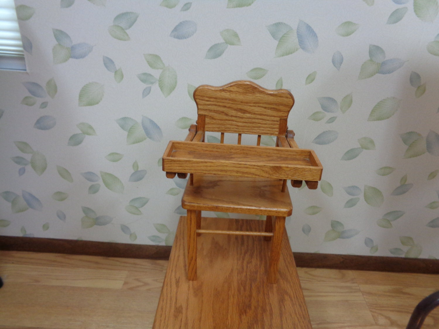 Solid oak high chair 14 16 baby doll
