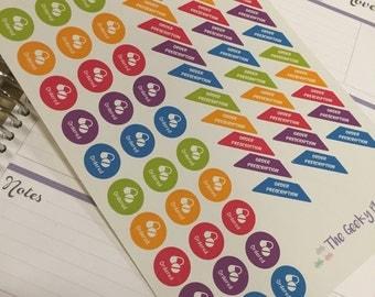 60 Prescription corner and dot reminder planner stickers , rainbow coloured