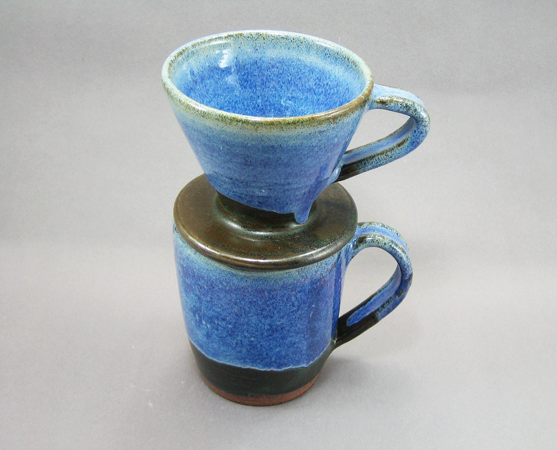 pottery coffee mug pour over filter rutile blue green to. Black Bedroom Furniture Sets. Home Design Ideas