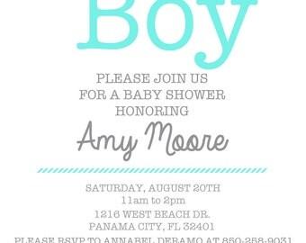 Oh Boy! baby shower invite