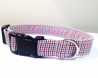 Plaid dog collar, dress shirt dog collar, stripe dog collar, Boy dog collar, Male dog collar, Preppy dog collar, red plaid collar, modern