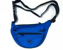 Blue Fanny Pack - 90s Royal Blue Retro Fanny Pack - 3-Pocket Rave Fanny Pack - Vintage Belt Bag - Small Waist Bag - Royal Blue Waist Pack