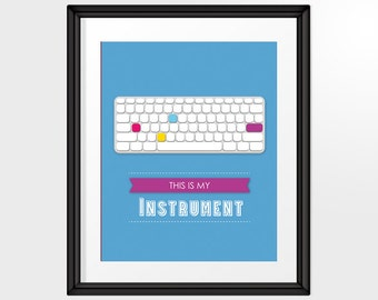 Keyboard for Mac lovers, Modern Printable Art, 8x10 Quote Design in blue, INSTANT DOWNLOAD