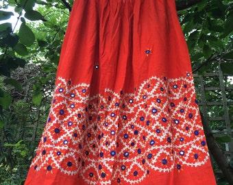 Beautiful Rajasthani Mirror Detail Skirt - Shamanic Dreams – Burnt Orange