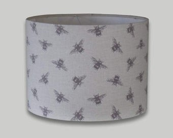 Grey Cream Bees Drum Lampshade Lightshade 20cm 25cm 30cm 35cm 40cm 50cm 60cm 70cm diameter available in an range of depths