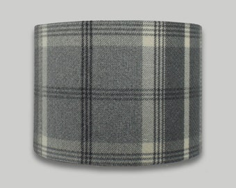Dove Grey Tartan Check Country Tweed Drum Lampshade Lightshade Lamp shade 20cm 25cm 30cm 35cm 40cm 50cm 60cm 70cm