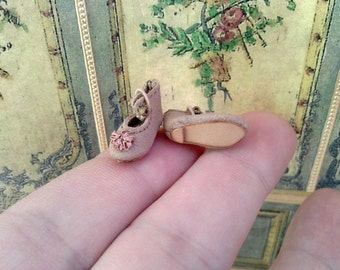 "Jumeau style tiny shoes for antique German or French mignonette doll length 5/8"" (16 mm)"