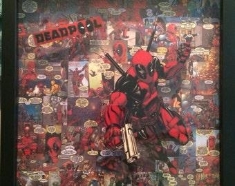 Deadpool Shadowbox Collage | 13 x 13 | Marvel Series