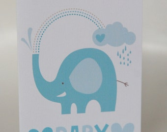 NEW BABY CARD ---Showering Elephant Blue ---Baby shower card--- New Baby greeting card