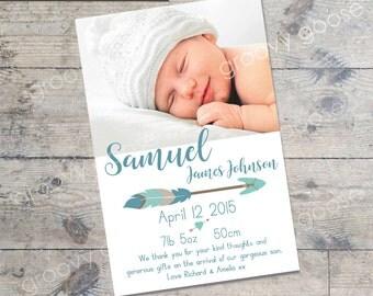 Tribal Arrow (Blue)  BABY ANNOUNCEMENT Card DIY Printable  Baby Thank You Card