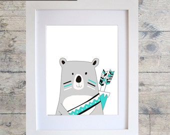 TRIBAL BEAR Wall Art / Kids Room Decor/ Kids Wall Art / Nursery Wall Art / BEAR Print Monochrome print