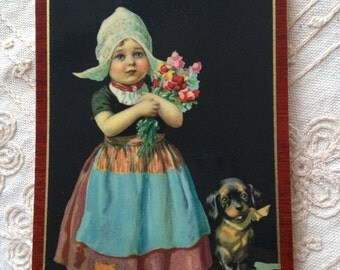 Dutch Girls Pictures, pictures of dutch girls, Jan Wijga Art Print, Dutch Painting, Dutch Girl images, Vintage Dutch Girl with Dog,