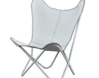 LEATHER butterfly chair-Brilliant white  for INDOOR USE