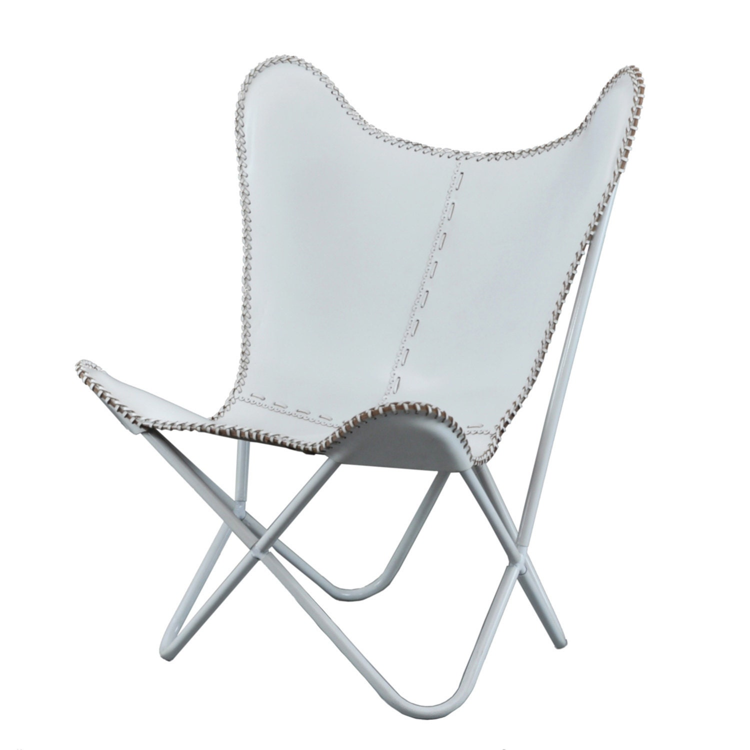 Leather butterfly chair brilliant white for indoor use for Triple papasan chair