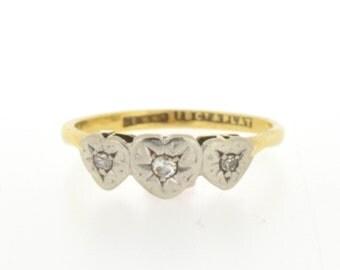 Vintage Diamond Three Stone Ring, Diamond Heart Ring, Vintage Heart Ring, Platinum and Gold Ring, Heart Ring, Diamond Ring