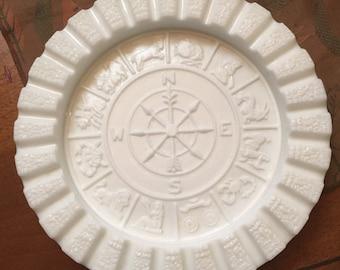 Large Milk Glass Zodiac Ash Tray by Imperial Glass Company Mid Century Hollywood Regaency