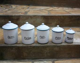 Vintage 5 piece French Enamel  Kitchen Cannister set   **REDUCED PRICE **