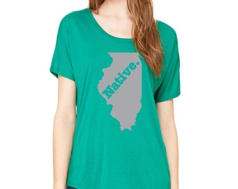 State of Illinois Native Borned and Raised Slouchy Tee