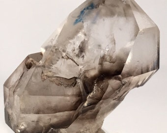 AAA - Flawless - Large Twinned, Doubly-Terminated, Enhydro-Included, Sceptered, Elestial Smoky Phantom Quartz Crystal