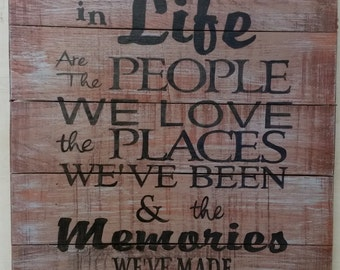 The Best Things In Life are the People we Love the Places We've Been - Distressed Wooden Sign 15 x 18