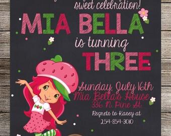 Strawberry Shortcake Birthday Invitation, Strawberry Short Cake Birthday, Girls Birthday, Girls Invitation- Printable Invitation
