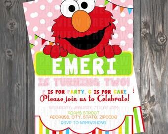 Girl Elmo Invitation