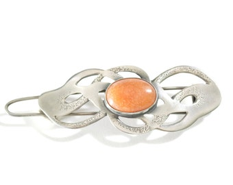Handmade Sterling Silver Hairclip With Orange Jade / Wedding Gift / Gift for Her / Jade Jewelry / Artisan Jewelry