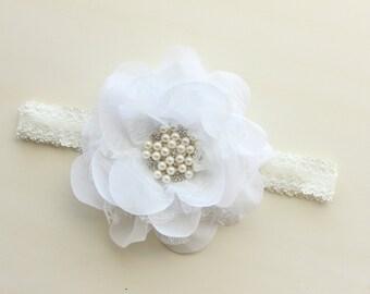 White Flower Headband, White Rhinestone Headband, Flower Headband, Baby Headband, White flower girl headband White wedding headband toddler